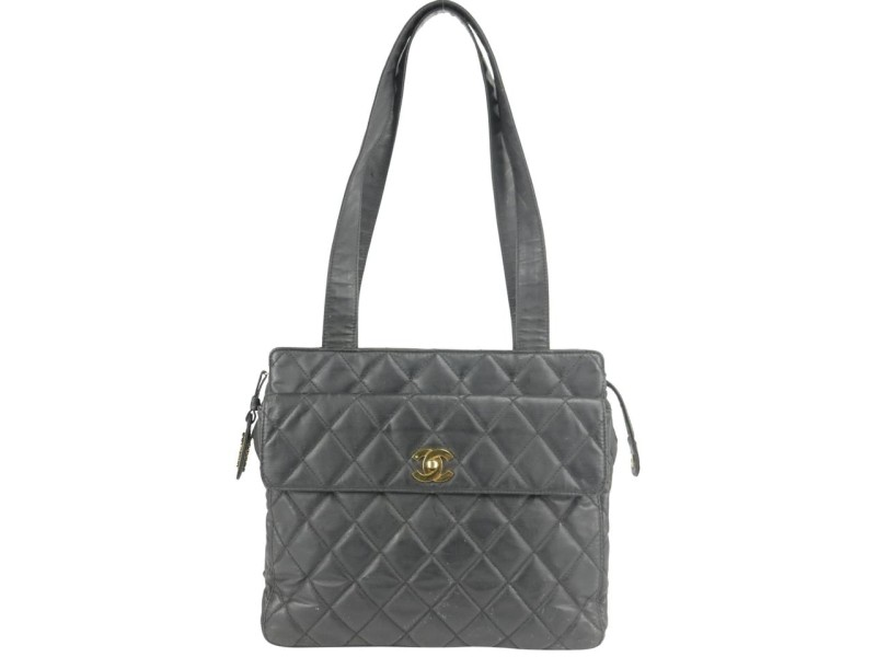 Chanel Black Quilted Vinyl Flap Pocket Tote Bag 856220