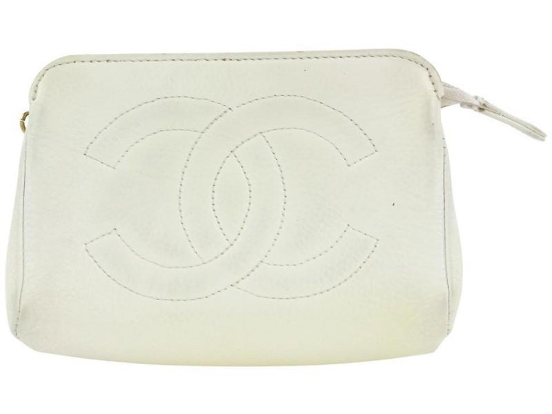 Chanel White Caviar CC Mini Cosmetic Pouch 854cas48