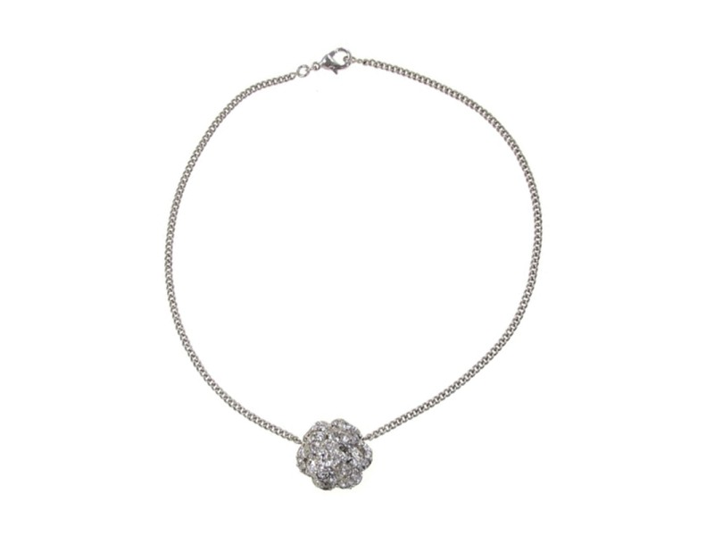 Chanel Silver-Tone Camelia Necklace