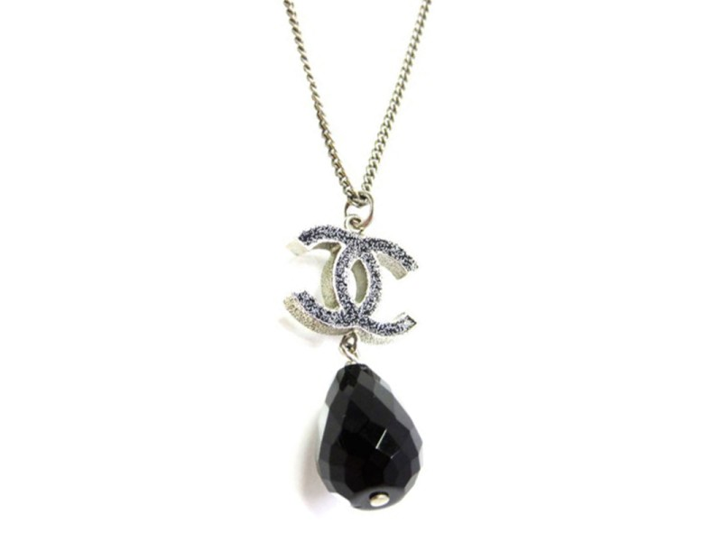 Chanel Silver Tone Metals Coco Necklace