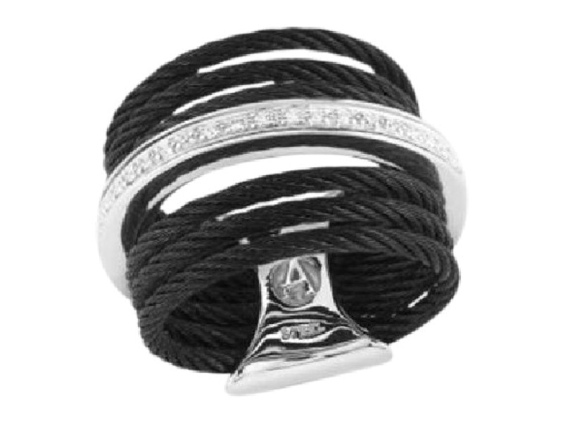 Alor 18K White Gold & Stainless Steel Diamonds Cable Ring Size 5.25