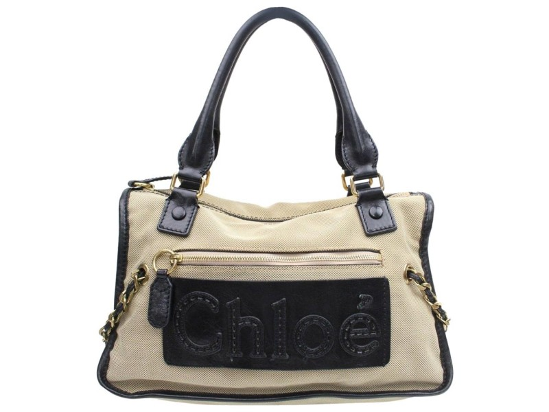 Chloé Chloé Duffle Logo Boston 868763 Beige Canvas Satchel