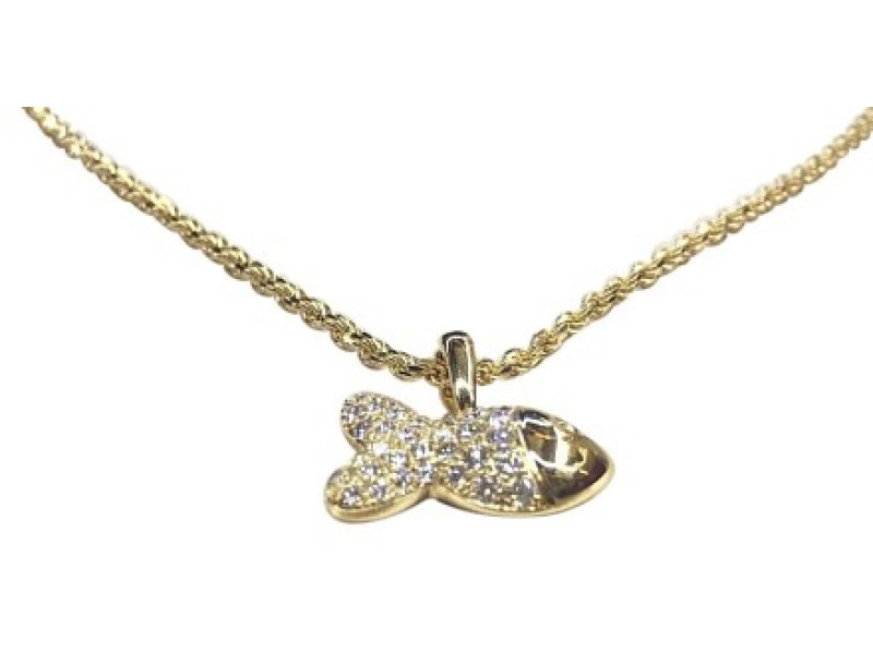 Chopard 79/4702-0 18K Yellow Gold Happy Fish Diamond Necklace