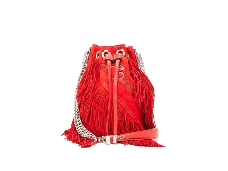 Christian Louboutin Bucket Marie Jane Fringe Chain 5loub515 Hsu Red Suede Leather Cross Body Bag