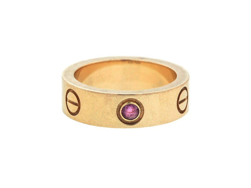 Cartier Love Ring Rose Gold with Pink Sapphire Size 49