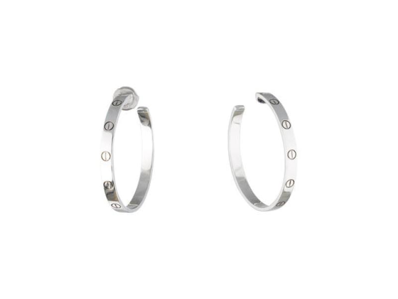 Cartier 18K White Gold Love Large Hoop Earrings
