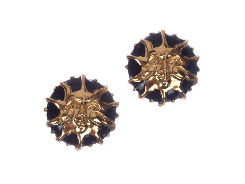 Fendi Gold and Black Enamel Sun Earrings