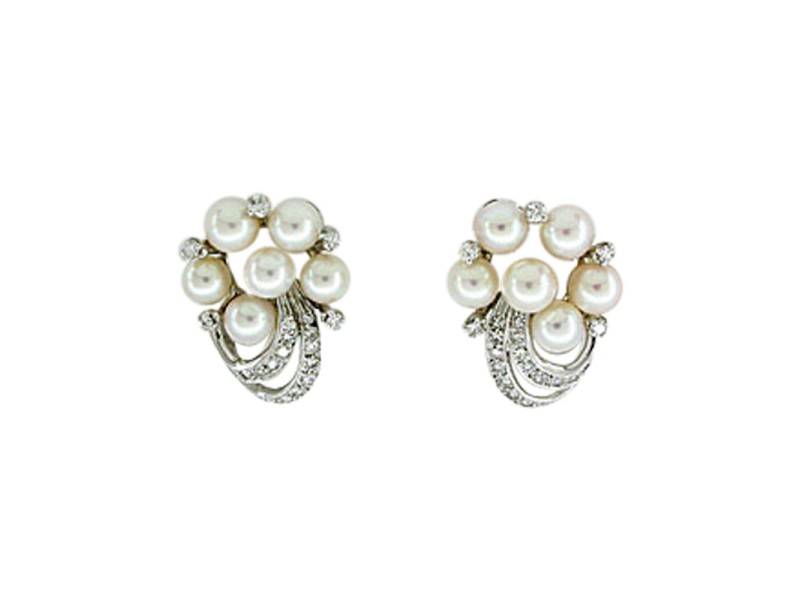 14K White Gold Pearl & 0.75ct Diamond Earrings