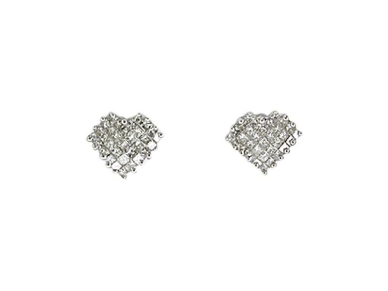 14K White Gold Diamond Heart Earrings.