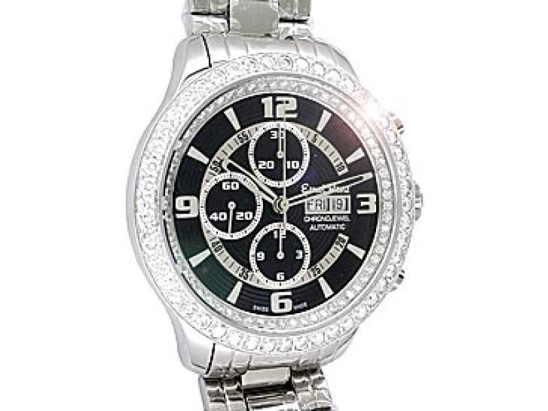 "Ernst Benz Diamond ""Chronojewel"" Chronograph Stainless Steel Mens Watch"