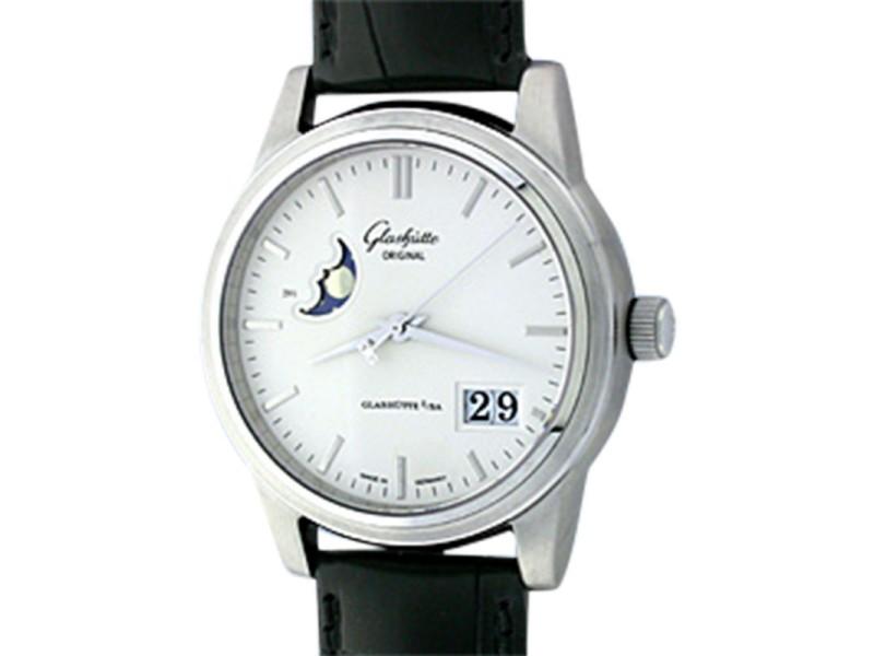 "Glashütte ""Senator"" Date/Moonphase Stainless Steel Mens Strap Watch"