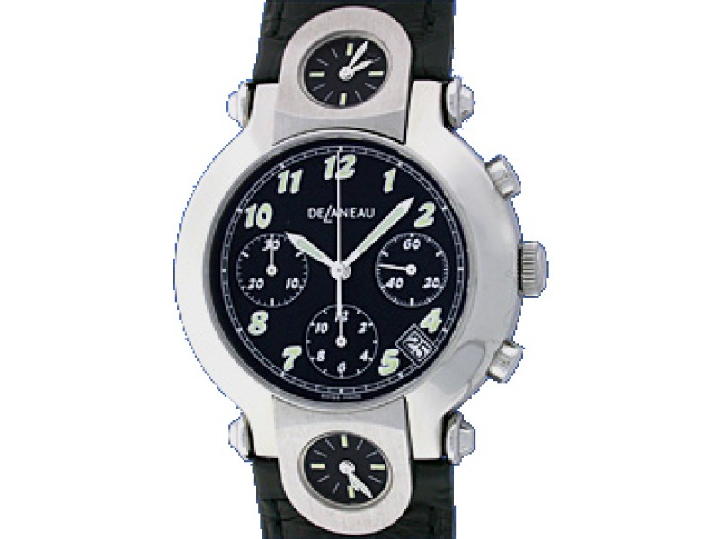 DeLeneau 3 Time Zone Chronograph Stainless Steel Strap Watch