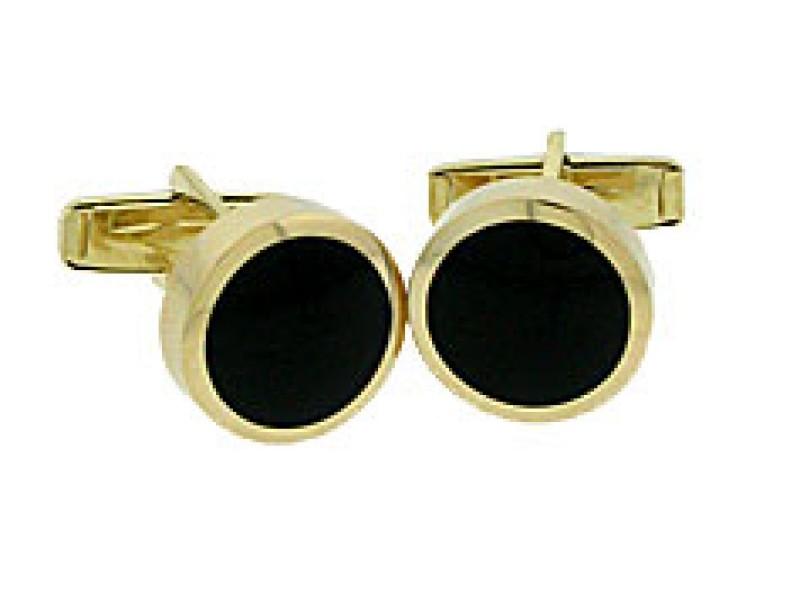 14K Yellow Gold Round Black Onyx Cuff Links.