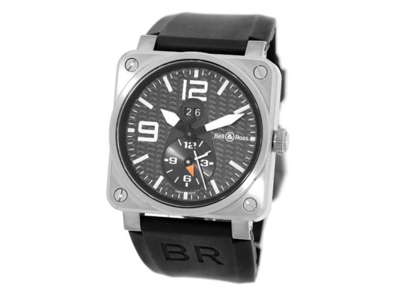"Bell & Ross ""BR 03-51"" GMT Dual Time Titanium  Mens Strap Watch"