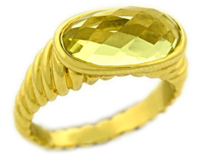 David Yurman 18K Yellow Gold Yellow Citrine Fashion Deco Ring