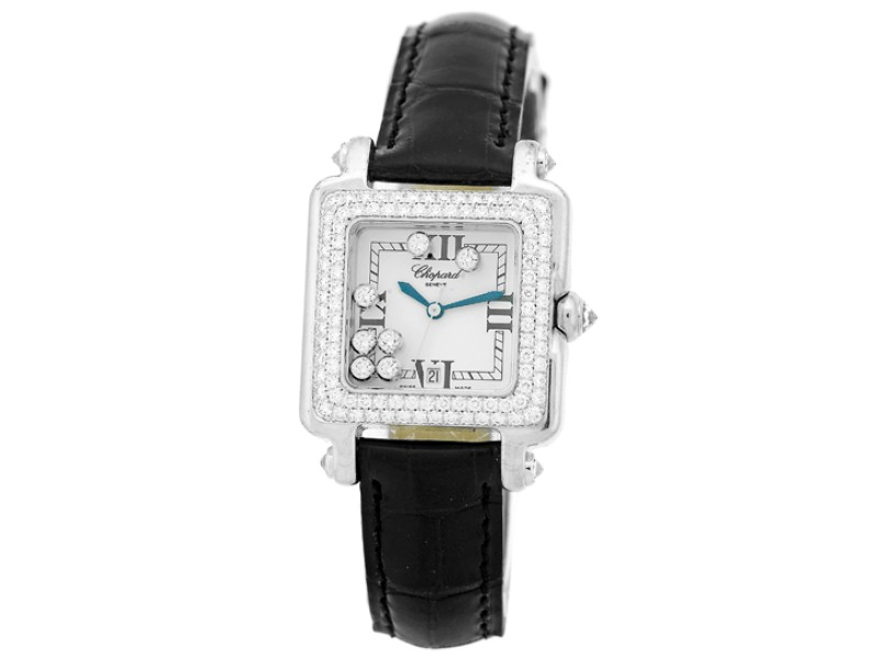 "Chopard Diamond ""Happy Sport"" 18K White Gold Watch"