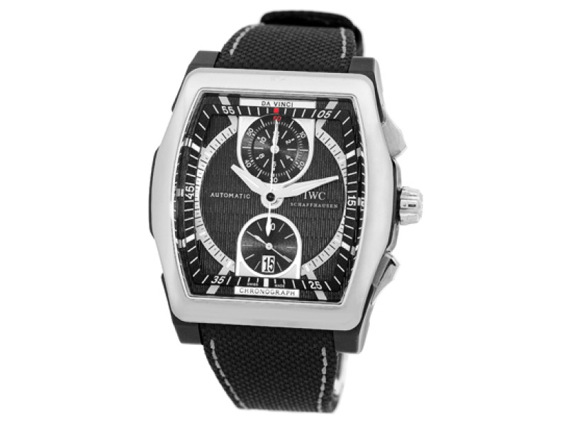 "IWC Titainum & Ceramic ""Da Vinci Chronograph"" Mens Strap Watch"