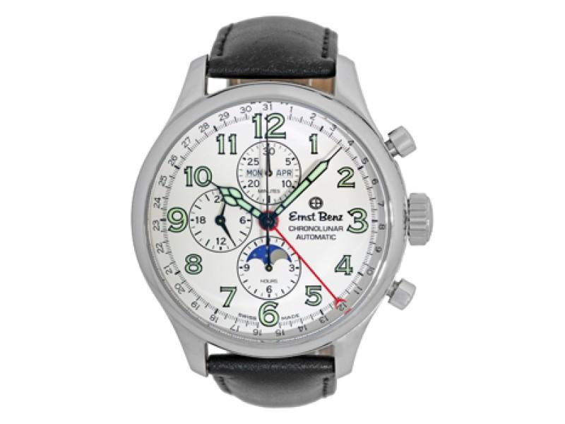 "Ernst Benz ""Chronolunar"" Automatic Stainless Steel Mens Strap Watch 47mm"