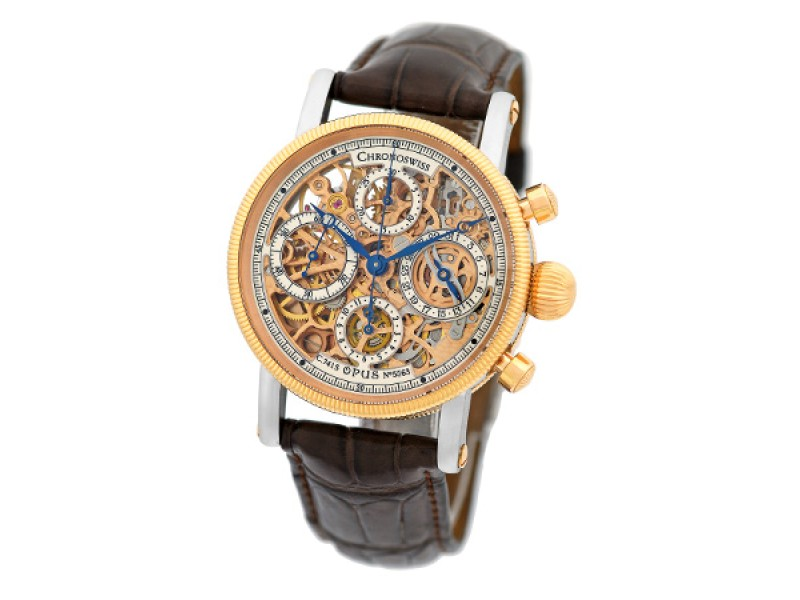 Chronoswiss Opus Skeleton Chronograph Stainless Steel & 18K Rose Gold Mens Watch