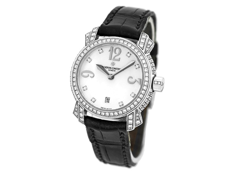 "Vacheron Constantin Pave Diamond ""Malte"" 18K White Gold Strapwatch"
