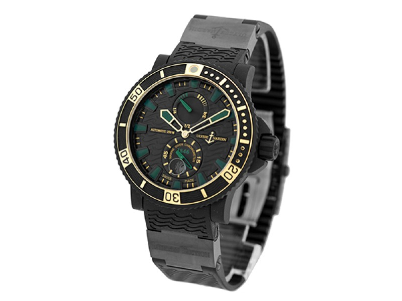 Ulysse Nardin Maxi Marine Diver Black Sea 263-92LE-3c/928-rg Black Stainless Steel Rubber & 18K Rose Gold Mens Watch