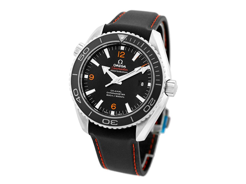 "Omega Seamaster ""Planet Ocean"" Stainless Steel Black Dial Automatic 45.5mm Mens Watch"