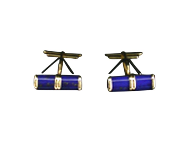 14K Yellow Gold Lapis Barrel Style Cuff Links.