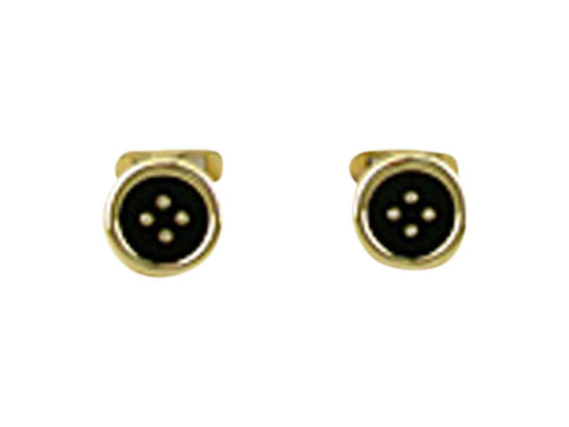 Peony 14K Yellow Gold Diamond & Onyx Button-Style Cuff Links.