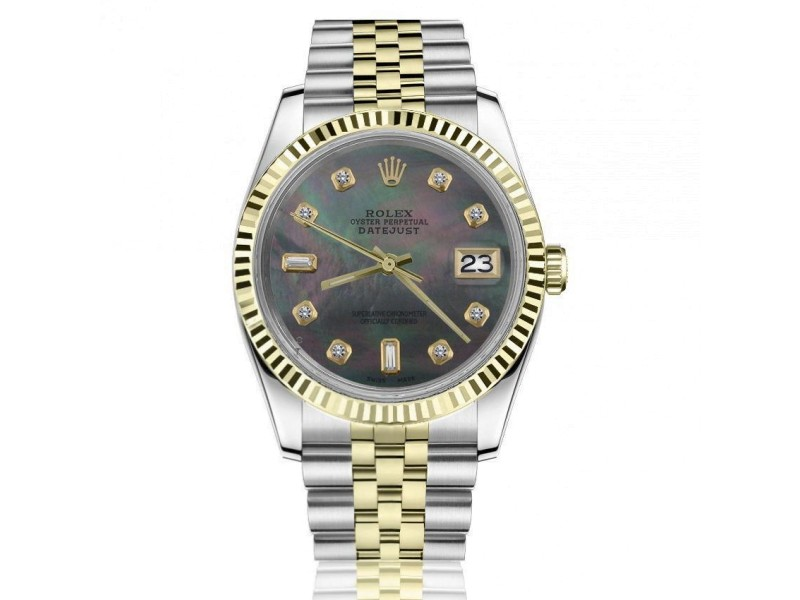 Rolex 36mm Datejust Black Mother Of Pearl Face with Baguette & Round Diamond Numbers