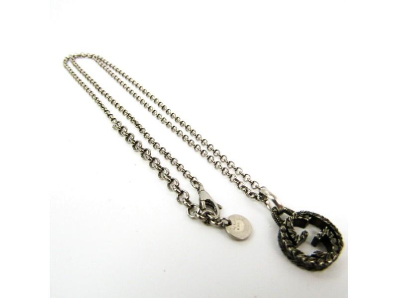 Gucci Silver Interlocking G Pendant Necklace
