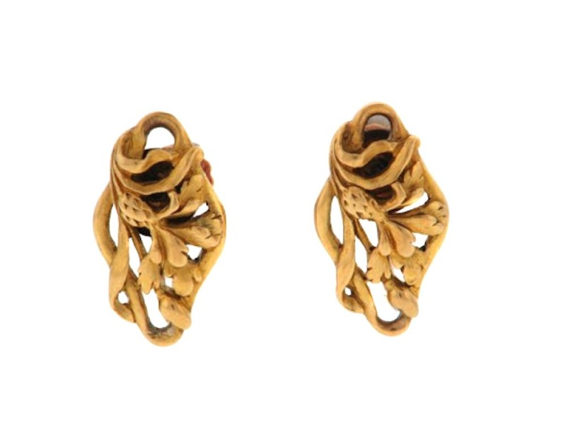 20K Yellow Gold Nouveau Floral Earrings
