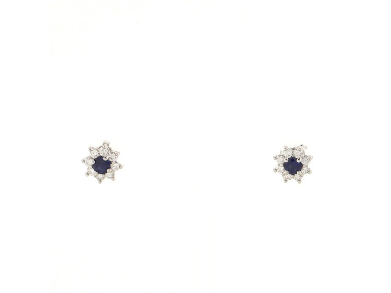 Tiffany & Co. Flower Stud Earrings Blue Sapphire and Diamonds with Platinum