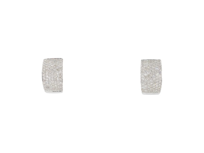 14K White Gold with 3.50ct Diamond Plaque Hoop Earrings