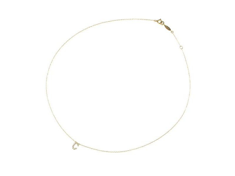 Aker diamond/yellow gold Initial Necklace