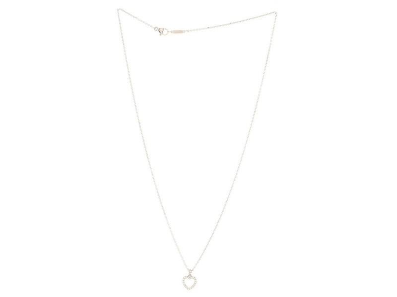 Tiffany & Co. Metro Heart Pendant Necklace Platinum and Diamonds