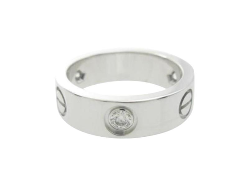 Cartier 18k White Gold Half Diamond Love Ring Size 5.75