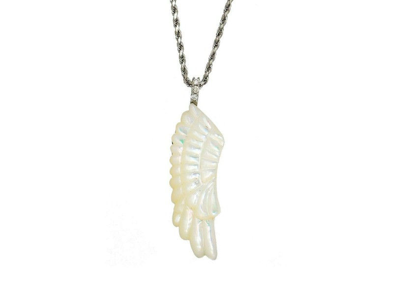 18k white gold Feather motif Shell Diamond Necklace