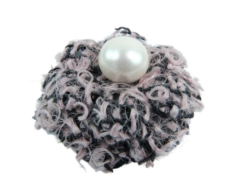 CHANEL pink black tweed/Fake pearl camellia corsage Brooch