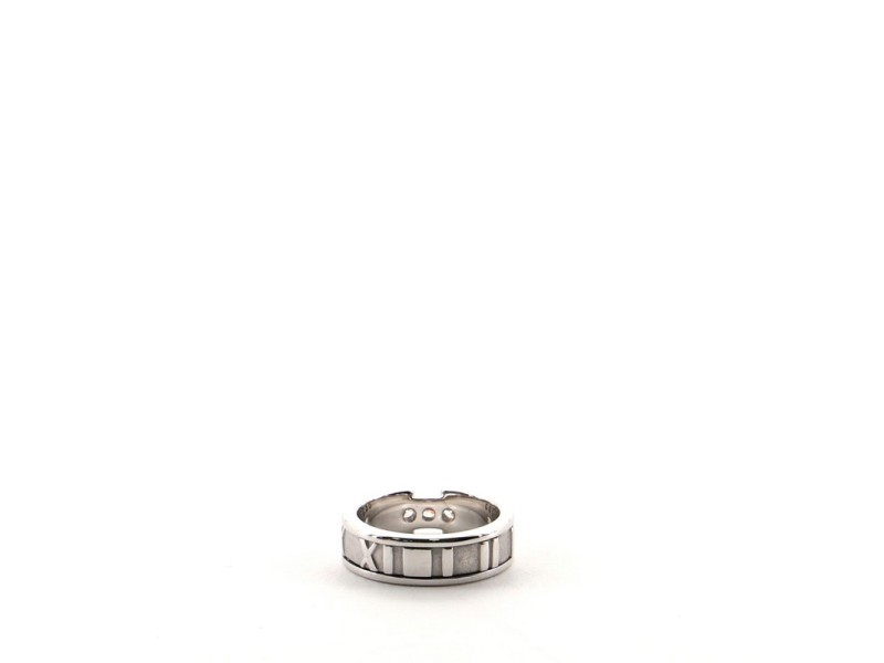 Tiffany & Co. Atlas Band Ring 18K White Gold with Diamonds