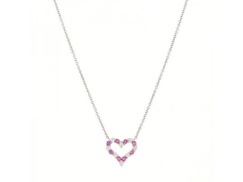 Tiffany & Co. Sentimental Heart Pendant Necklace Platinum with Diamonds and Pink Sapphires