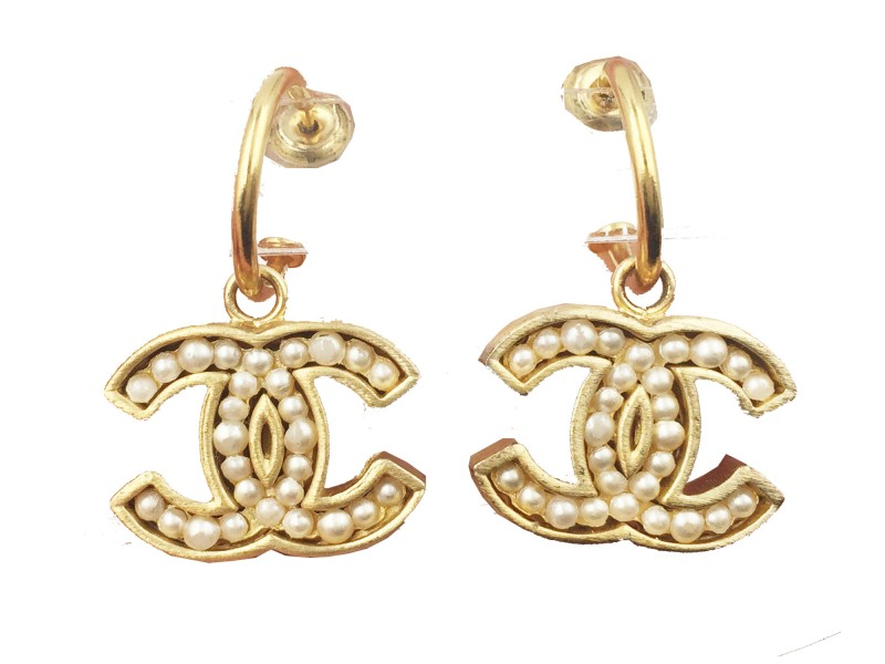 Chanel Gold Plated CC Simulated Glass Pearl Piercing Earrings