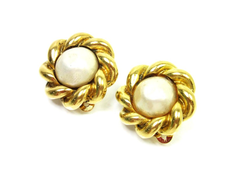 Chanel Gold Tone Metal And Pearl Imitation Earrings