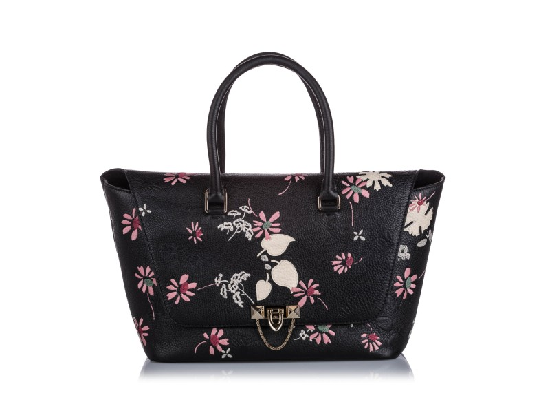 Embroidered Leather Demilune Satchel
