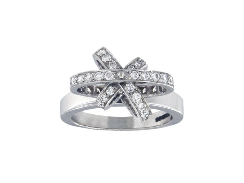 Garrard 18K White Gold with Diamonds Ring Size 6