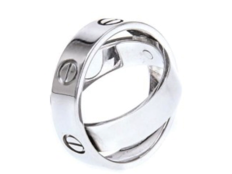 Cartier EN5233 18k White Gold Ring Size 54