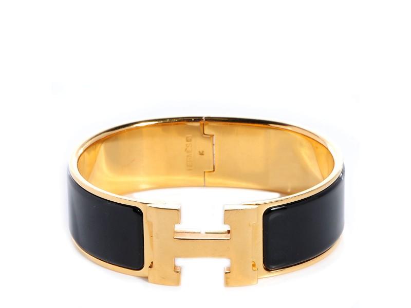 Hermes Yellow Gold & Enamel Wide Clic Clac H Bracelet