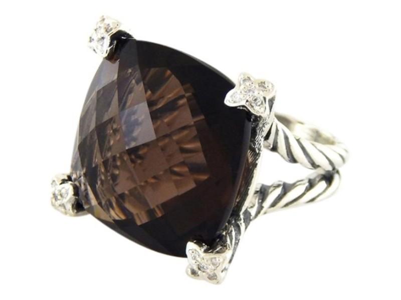 David Yurman Sterling Silver Smokey Topaz & Diamonds Ring