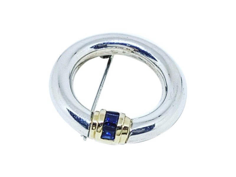 Tiffany & Co. Vintage 14K Gold and 925 Sterling Silver with Sapphires Pin Brooch