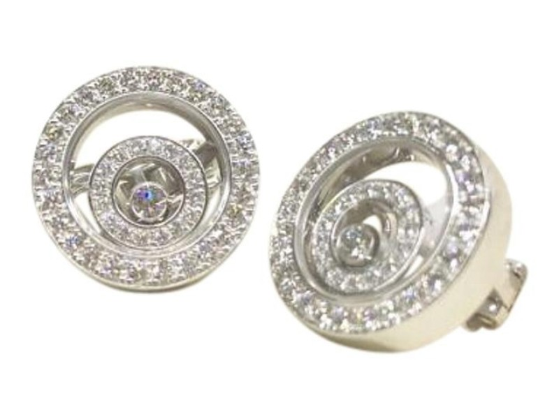 Chopard 18K White Gold & 1.36ct Diamond Happy Spirit 84/5422-0-20 2 Earrings