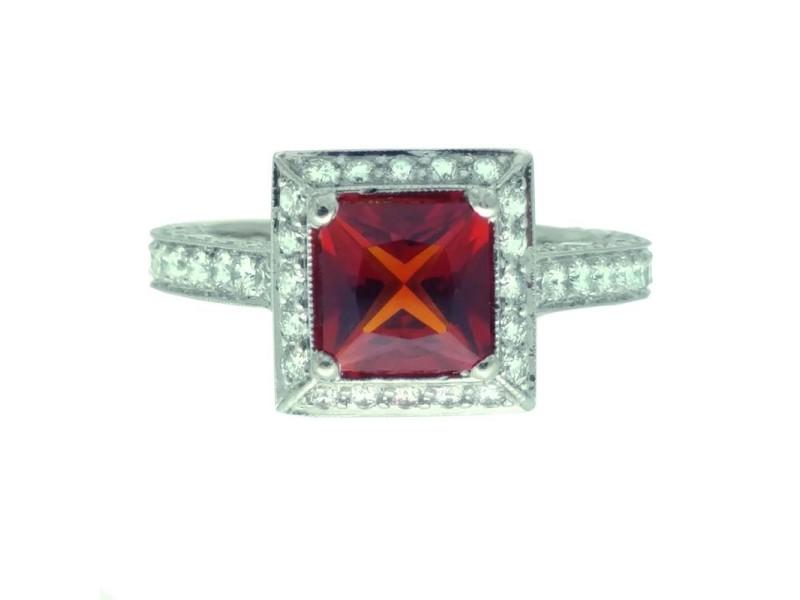 Jack Kelege Platinum Citrine 1.65ctw Diamond Ring Size 6